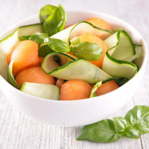 melon and cucumber with basil