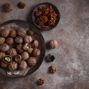 natural organic walnut on the table
